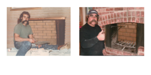 Bob Dias side by side photos 40 years apart doing fireplace work
